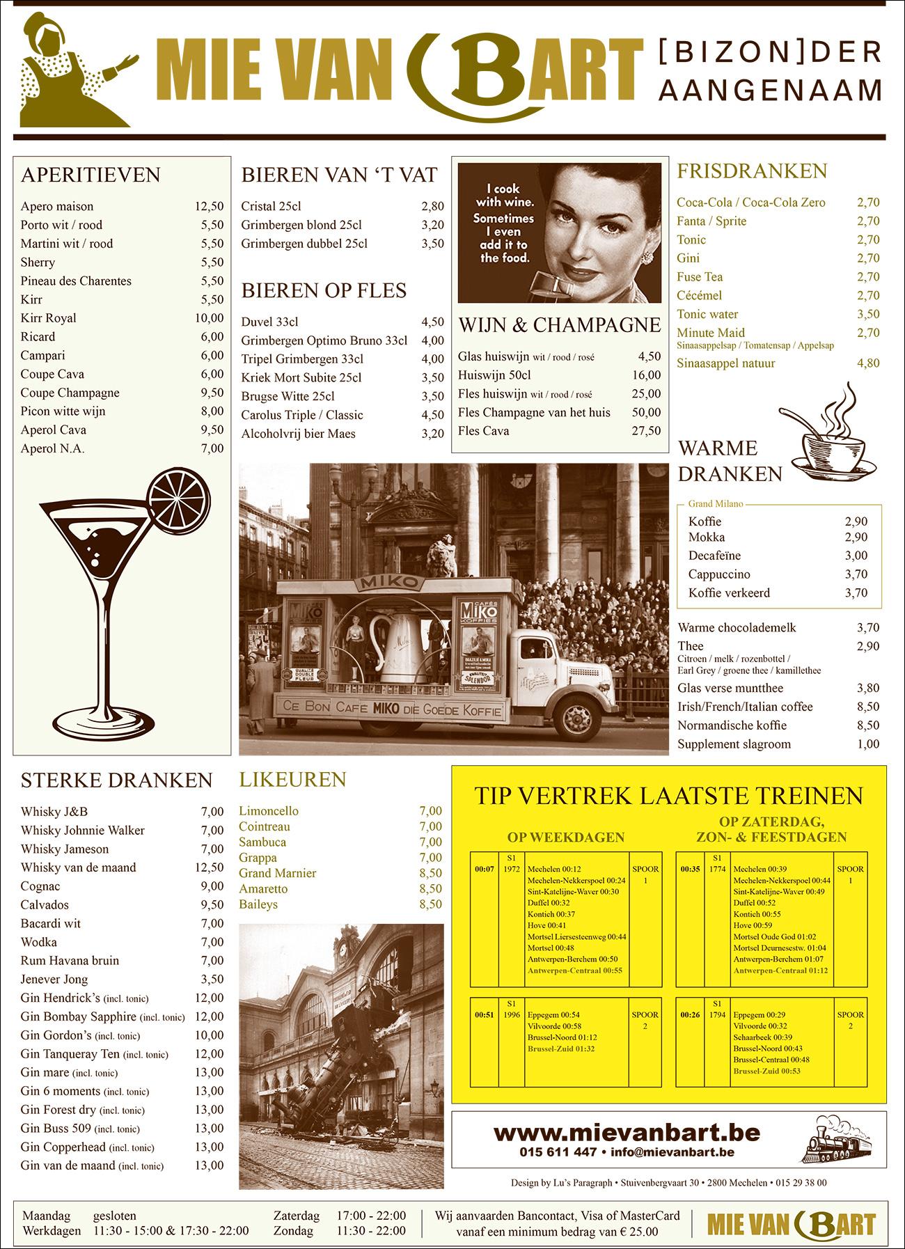 Drankkaart Mie van Bart